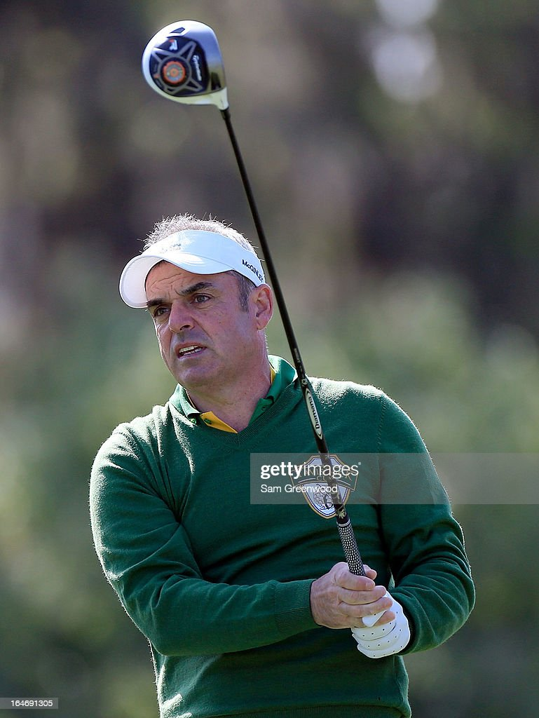 Paul McGinley of Ireland and Team Queenwood plays a shot during the second day of the Tavistock Cup at the Isleworth Golf and Country Club on March 26, 2013 in Windermere, Florida.