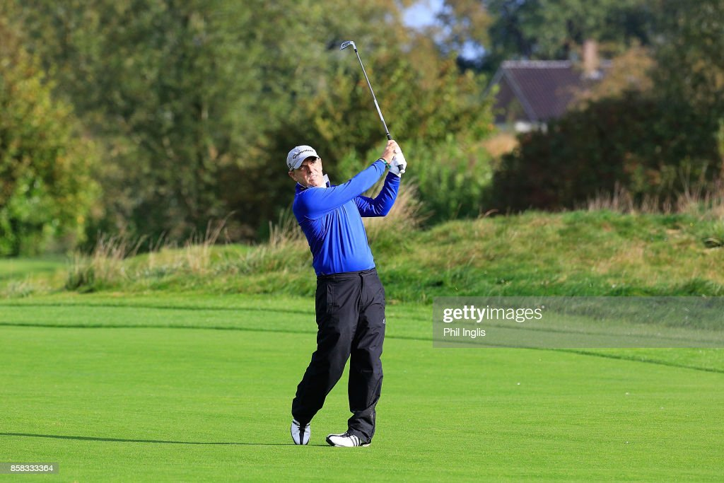 Paul McGinley of Ireland in action during the first round of the Dutch Senior Masters played at The Dutch on October 6, 2017 in Spijk, Netherlands.