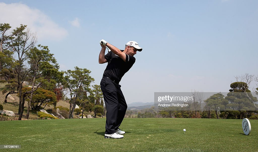 Paul McGinley of Ireland in action during the Pro Am tournament prior to the start of the Ballantine's Championship at Blackstone Golf Club on April 24, 2013 in Icheon, South Korea.