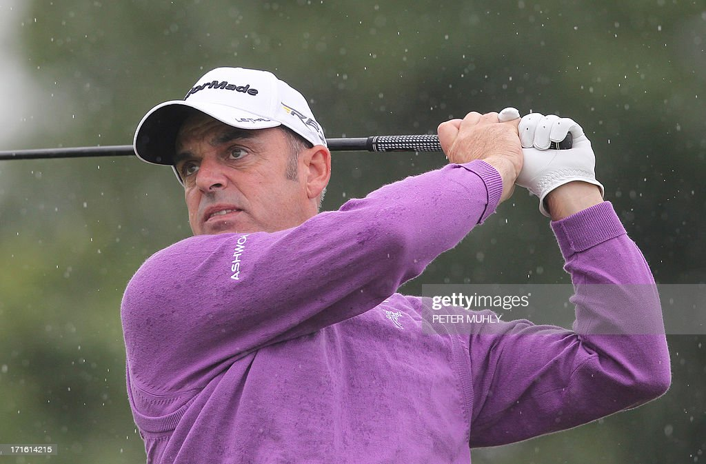 Paul McGinley of Ireland looks on after his tee shot on the fourth hole during the first round of the Irish Open golf championship at Carton House Golf Club, Maynooth, Ireland on June 27, 2013.