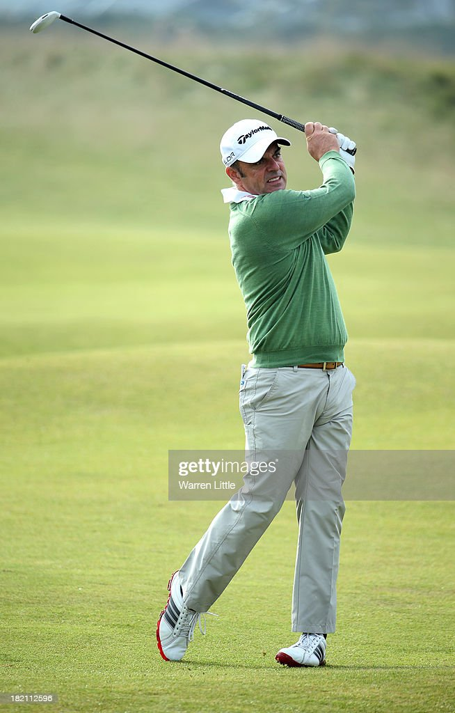 Paul McGinley of Ireland plays his second shot to the fourth hole during the third round of the Alfred Dunhill Links Championship on The Old Course, at St Andrews on September 28, 2013 in St Andrews, Scotland.