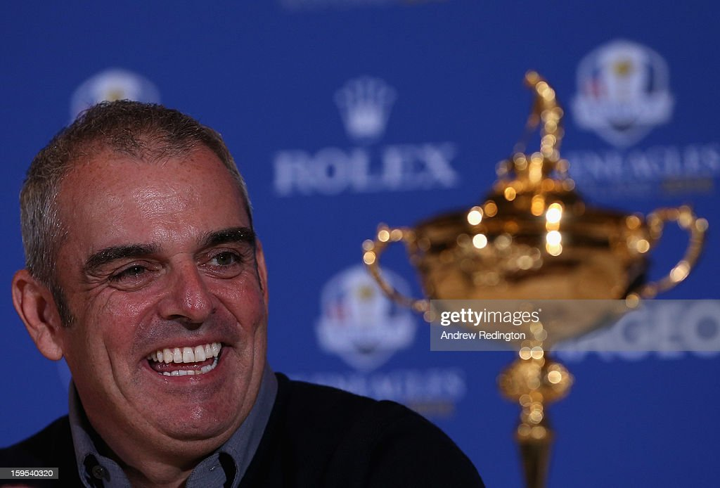 <a gi-track='captionPersonalityLinkClicked' href=/galleries/search?phrase=Paul+McGinley&family=editorial&specificpeople=178983 ng-click='$event.stopPropagation()'>Paul McGinley</a> of Ireland poses with the Ryder Cup trophy after being announced as the captain for The 2014 Ryder Cup at The St. Regis Saadiyat Island Resort following practice at The Abu Dhabi HSBC Golf Championship at Abu Dhabi Golf Club on January 15, 2013 in Abu Dhabi, United Arab Emirates.