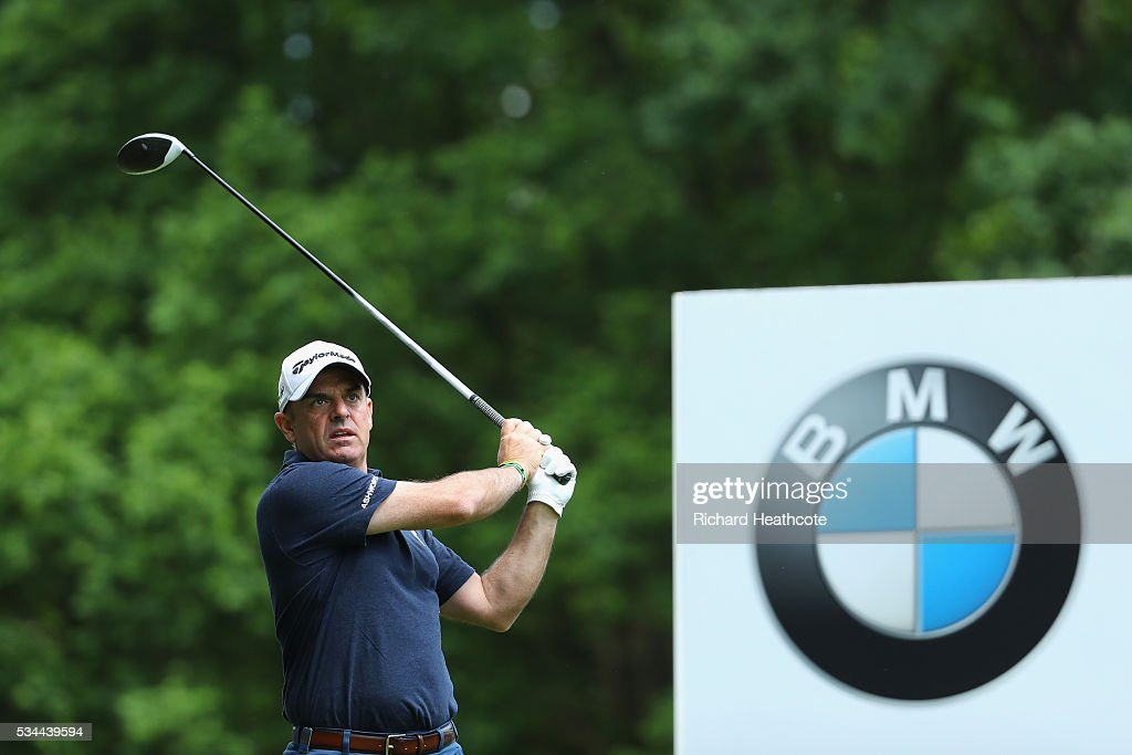 <a gi-track='captionPersonalityLinkClicked' href=/galleries/search?phrase=Paul+McGinley&family=editorial&specificpeople=178983 ng-click='$event.stopPropagation()'>Paul McGinley</a> of Ireland tees off during day one of the BMW PGA Championship at Wentworth on May 26, 2016 in Virginia Water, England.
