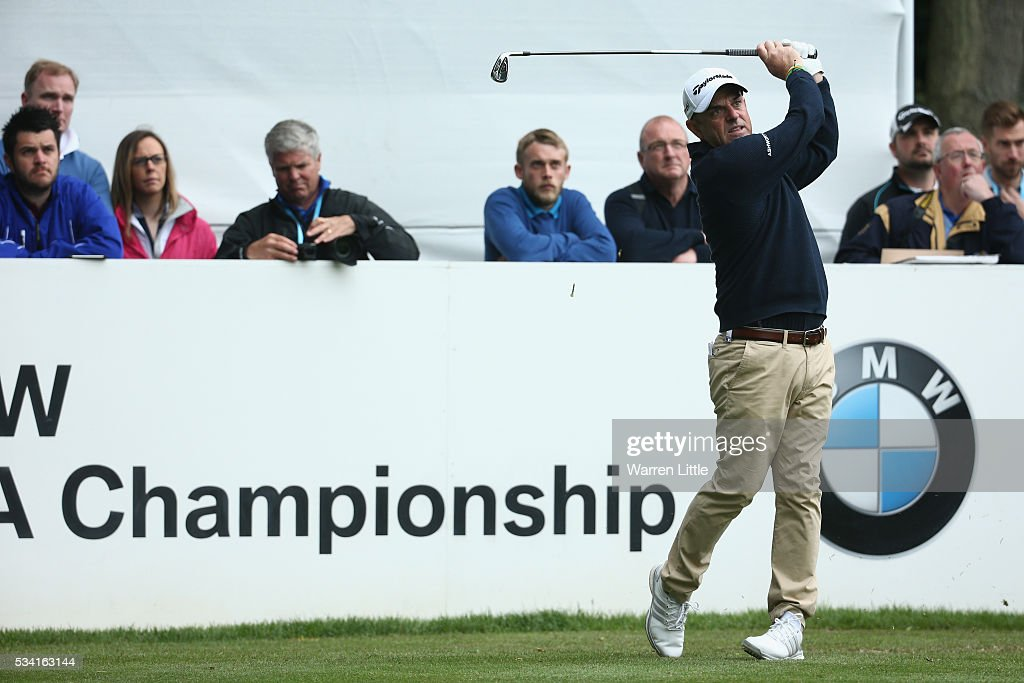 Paul McGinley of Ireland tees off during the Pro-Am prior to the BMW PGA Championship at Wentworth on May 25, 2016 in Virginia Water, England.