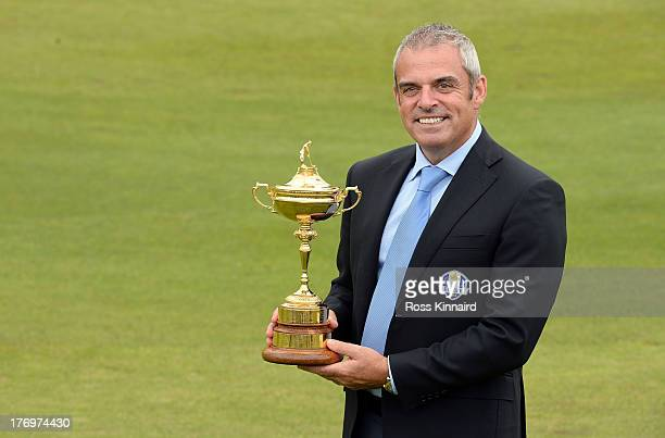 Paul McGinley the European Ryder Cup Captain pictured with the Ryder Cup Trophy after a press conference for the Official Charities Announcement...