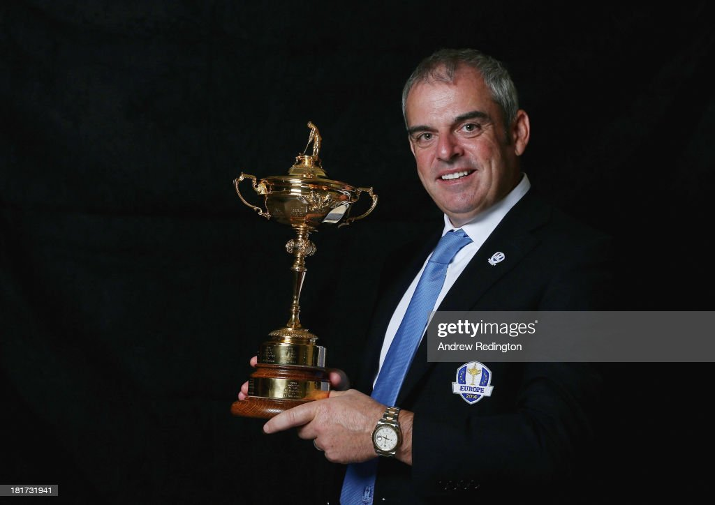 <a gi-track='captionPersonalityLinkClicked' href=/galleries/search?phrase=Paul+McGinley&family=editorial&specificpeople=178983 ng-click='$event.stopPropagation()'>Paul McGinley</a>, the European Ryder Cup team captain, poses with the trophy during a studio shoot prior to the start of The Ryder Cup Captains' Joint Press Conference at Gleneagles on September 24, 2013 in Auchterarder, Scotland.