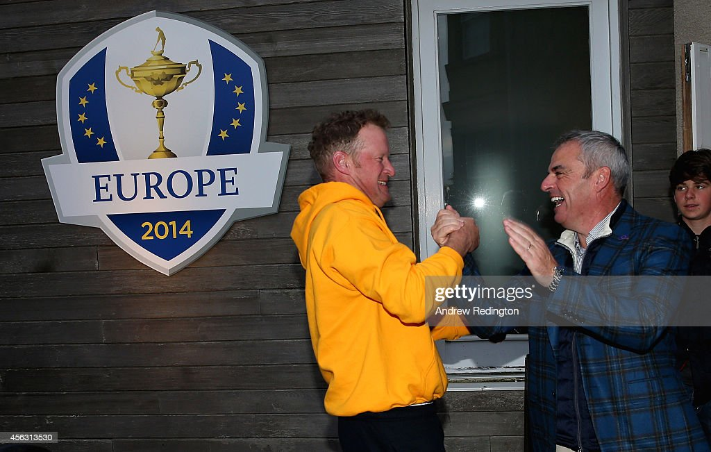 Paul McGinley, the victorious European Ryder Cup team captain, (right) and Jamie Donaldson shake hands at The Gleneagles Hotel on September 29, 2014 in Auchterarder, Scotland.