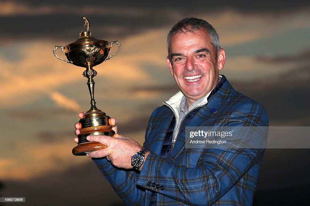 <a gi-track='captionPersonalityLinkClicked' href=/galleries/search?phrase=Paul+McGinley&family=editorial&specificpeople=178983 ng-click='$event.stopPropagation()'>Paul McGinley</a>, the victorious European Ryder Cup team captain, poses for a photograph at The Gleneagles Hotel on September 29, 2014 in Auchterarder, Scotland.