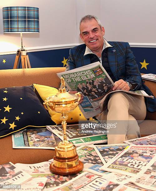 Paul McGinley the victorious European Ryder Cup team captain poses for a photograph at The Gleneagles Hotel on September 29 2014 in Auchterarder...