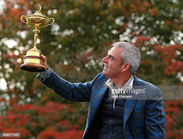 Paul McGinley the victorious European Ryder Cup team captain poses during a photocall at the Gleneagles hotel on September 29 2014 in Auchterarder...
