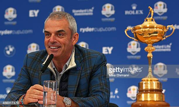 Paul McGinley the victorious European Ryder Cup team captain speaks with members of the media at Gleneagles on September 29 2014 in Auchterarder...