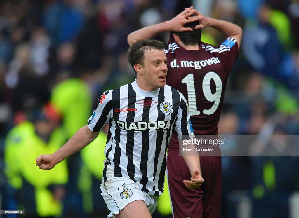 Paul McGowan of St Mirren celebrates after his side triumphs in the Scottish Communities League Cup Final between St Mirren and Hearts at Hampden Park on March 17, 2013 in Glasgow, Scotland.