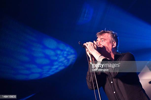 Paul McLoone of The Undertones performs on stage during Guilfest at Stoke Park on July 15 2012 in Guildford United Kingdom