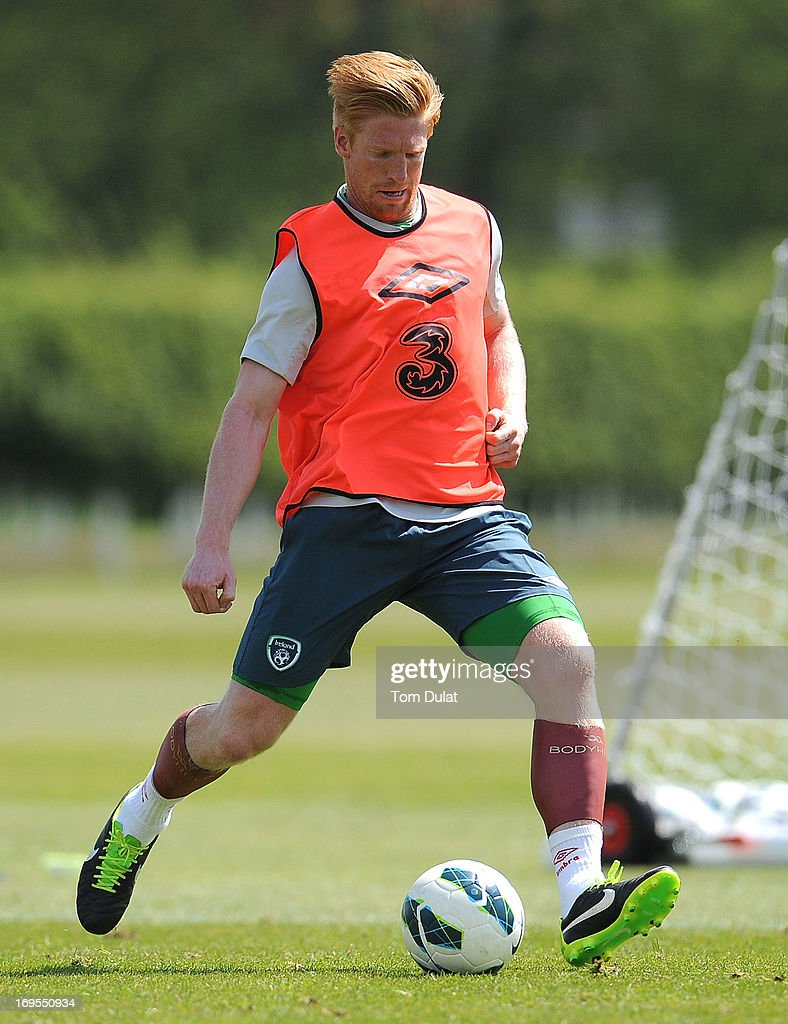 Paul McShane in action during the Ireland training session at Watford FC Training Ground on May 27, 2013 in London Colney, England.