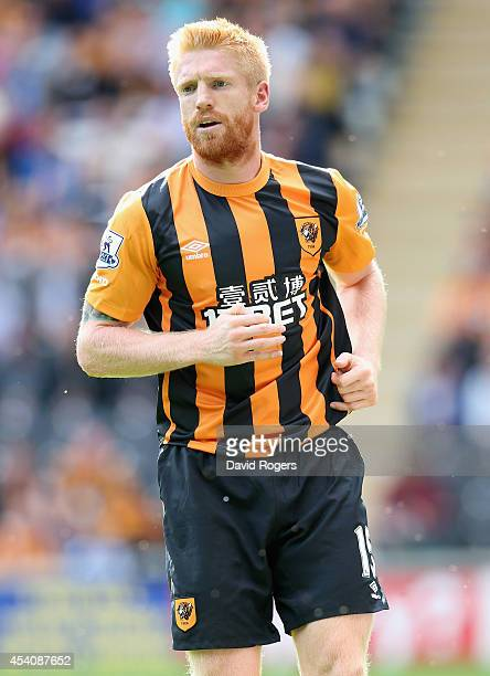 Paul McShane of Hull City looks on during the Barclays Premier League match between Hull City and Stoke City at the KC Stadium on August 24 2014 in...