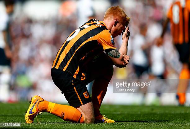 Paul McShane of Hull City reacts during the Barclays Premier League match between Tottenham Hotspur and Hull City at White Hart Lane on May 16 2015...