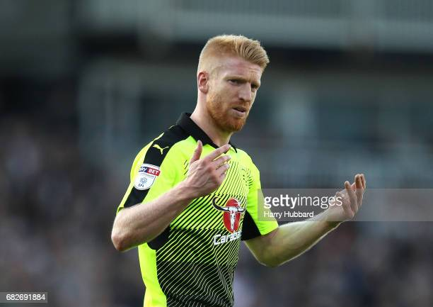 Paul McShane of Reading reacts during the Sky Bet Championship Play off semi final 1st leg match between Fulham and Reading at Craven Cottage on May...