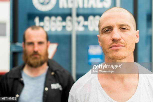 Paul Meany and Darren King of the band Mutemath pose for a portrait during the 2017 Hangout Music Festival on May 20 2017 in Gulf Shores Alabama
