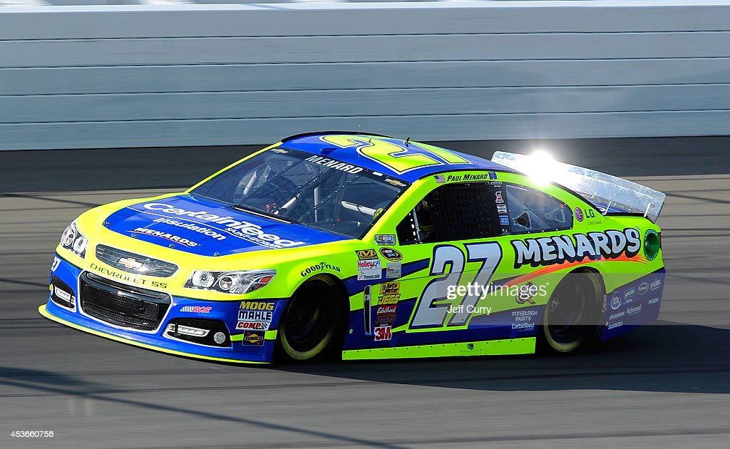 Paul Menard, driver of the #27 CertainTeed/Menard's Chevrolet, qualifies for the NASCAR Sprint Cup Series Pure Michigan 400 at Michigan International Speedway on August 15, 2014 in Brooklyn, Michigan.