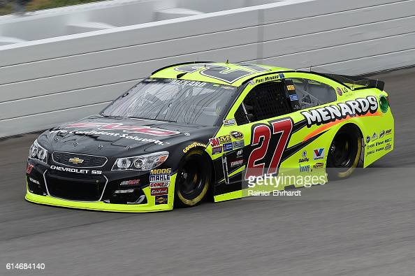 Paul Menard driver of the FVP/Menards Chevrolet practices for the NASCAR Sprint Cup Series Hollywood Casino 400 at Kansas Speedway on October 14 2016...