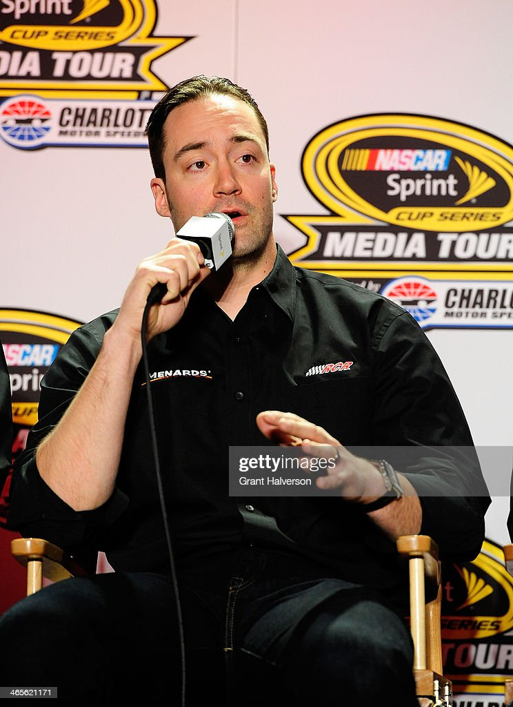 Paul Menard, driver of the #27 Menard's Chevrolet, speaks with the media during the NASCAR Sprint Media Tour at Charlotte Convention Center on January 28, 2014 in Charlotte, North Carolina.