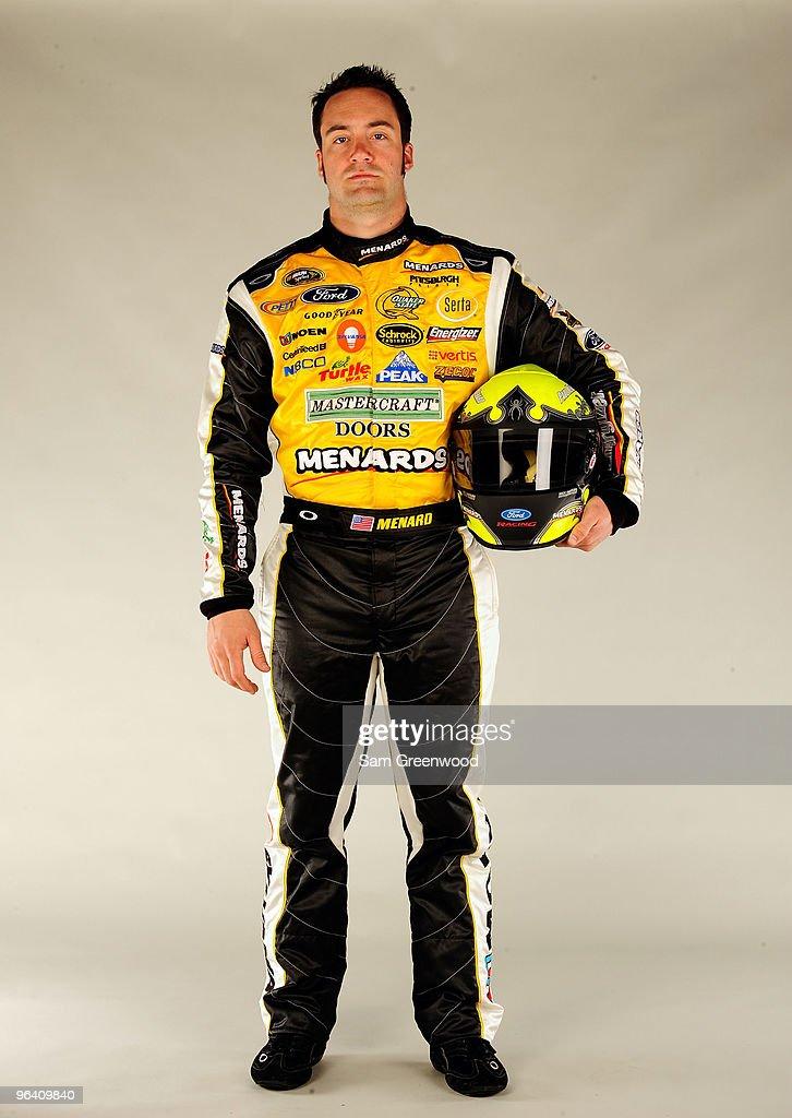 Paul Menard driver of the Menards Ford poses during NASCAR media day at Daytona International Speedway on February 4 2010 in Daytona Beach Florida