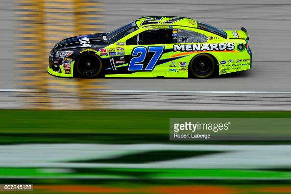 Paul Menard driver of the Moen/Menards Chevrolet practices for the NASCAR Sprint Cup Series Teenage Mutant Ninja Turtles 400 at Chicagoland Speedway...