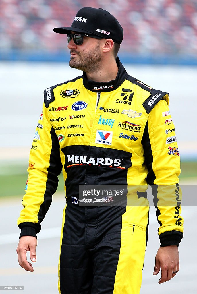 <a gi-track='captionPersonalityLinkClicked' href=/galleries/search?phrase=Paul+Menard&family=editorial&specificpeople=540271 ng-click='$event.stopPropagation()'>Paul Menard</a>, driver of the #27 Moen/Menards Chevrolet, stands on the grid during qualifying for the NASCAR Sprint Cup Series GEICO 500 at Talladega Superspeedway on April 30, 2016 in Talladega, Alabama.