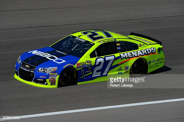 Paul Menard driver of the NIBCO/Menard's Chevrolet drives during practice for the NASCAR Sprint Cup Series Go Bowling 400 at Kansas Speedway on May 6...