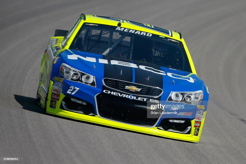 Paul Menard, driver of the #27 NIBCO/Menard's Chevrolet, drives during practice for the NASCAR Sprint Cup Series Go Bowling 400 at Kansas Speedway on May 6, 2016 in Kansas City, Kansas.