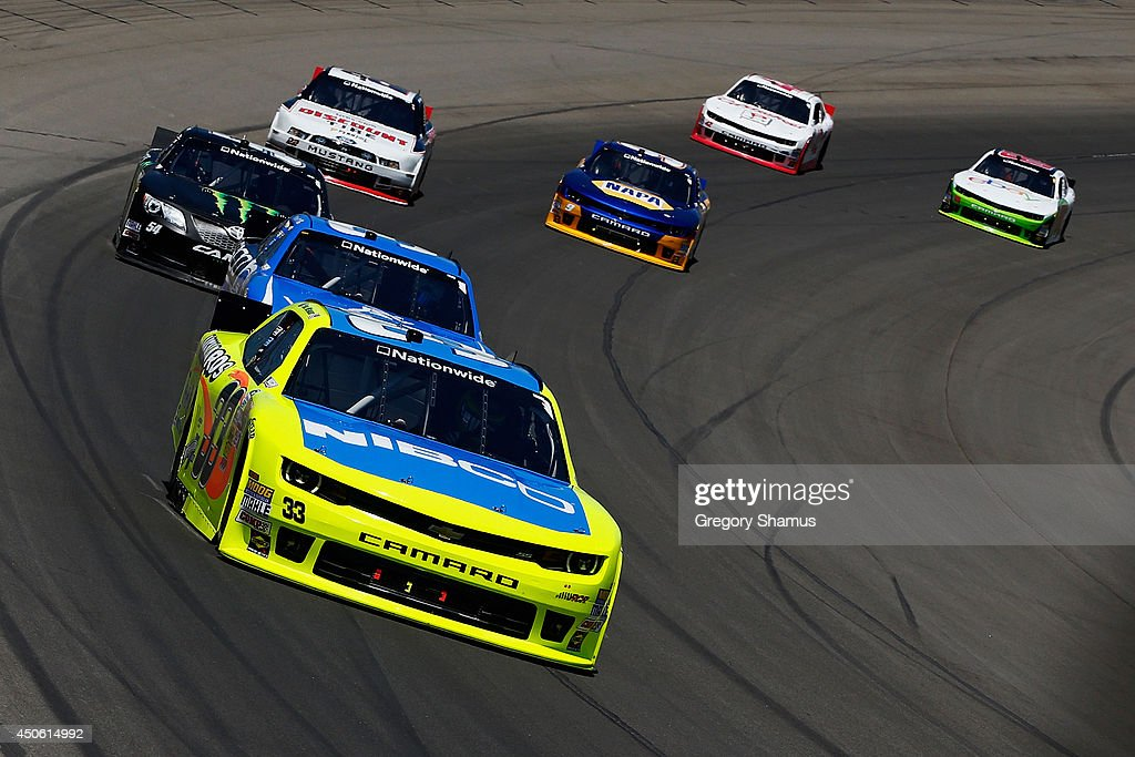 Paul Menard, driver of the #33 Nibco/Menards Chevrolet, leads a pack of cars during the NASCAR Nationwide Series Ollie's Bargain Outlet 250 at Michigan International Speedway on June 14, 2014 in Brooklyn, Michigan.