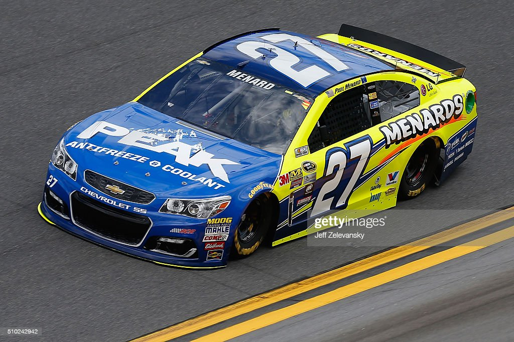 <a gi-track='captionPersonalityLinkClicked' href=/galleries/search?phrase=Paul+Menard&family=editorial&specificpeople=540271 ng-click='$event.stopPropagation()'>Paul Menard</a>, driver of the #27 Peak Antifreeze/Menards Chevrolet, drives during qualifying for the NASCAR Sprint Cup Series Daytona 500 at Daytona International Speedway on February 14, 2016 in Daytona Beach, Florida.