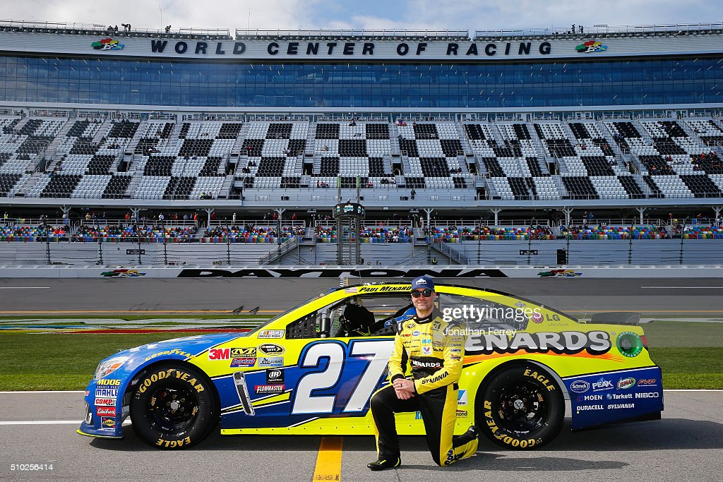 <a gi-track='captionPersonalityLinkClicked' href=/galleries/search?phrase=Paul+Menard&family=editorial&specificpeople=540271 ng-click='$event.stopPropagation()'>Paul Menard</a>, driver of the #27 Peak Antifreeze/Menards Chevrolet, poses with his car after qualifying for the NASCAR Sprint Cup Series Daytona 500 at Daytona International Speedway on February 14, 2016 in Daytona Beach, Florida.