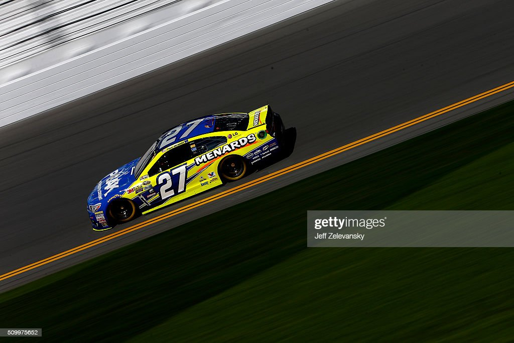 <a gi-track='captionPersonalityLinkClicked' href=/galleries/search?phrase=Paul+Menard&family=editorial&specificpeople=540271 ng-click='$event.stopPropagation()'>Paul Menard</a>, driver of the #27 Peak Antifreeze/Menards Chevrolet, practices for the NASCAR Sprint Cup Series Daytona 500 at Daytona International Speedway on February 13, 2016 in Daytona Beach, Florida.