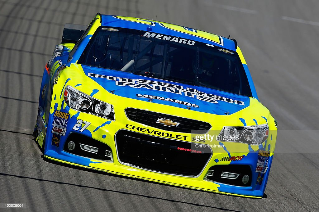 Paul Menard, driver of the #27 Pittsburgh Paints/Menard's Chevrolet, practices for the NASCAR Sprint Cup Series Quicken Loans 400 at Michigan International Speedway on June 14, 2014 in Brooklyn, Michigan.