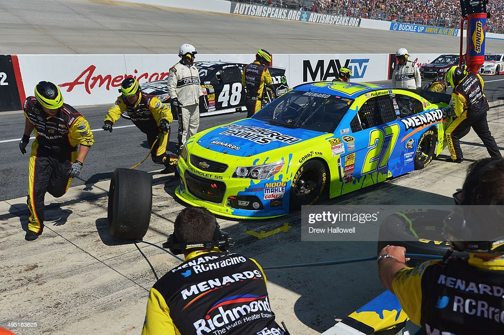 Paul Menard, driver of the #27 Pittsburgh Paints/Menards Chevrolet, pits the NASCAR Sprint Cup Series FedEx 400 Benefiting Autism Speaks at Dover International Speedway on June 1, 2014 in Dover, Delaware.