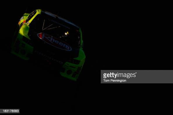 Paul Menard driver of the Rheem / Menards Chevrolet races during the NASCAR Nationwide Series 13th Annual Kansas Lottery 300 at Kansas Speedway on...