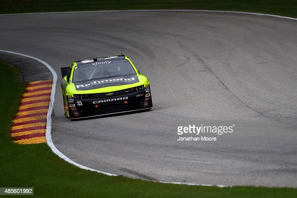 Paul Menard driver of the Richmond/Menards Chevrolet on track during practice for the Xfinity Series Road America 180 presented by Johnsonville on...