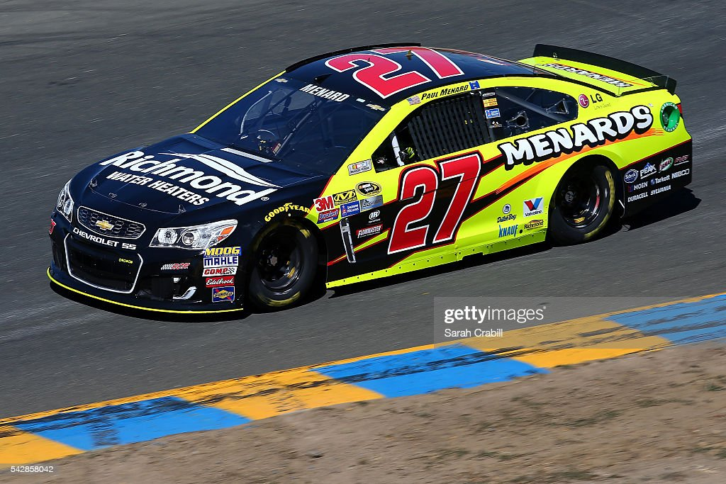 <a gi-track='captionPersonalityLinkClicked' href=/galleries/search?phrase=Paul+Menard&family=editorial&specificpeople=540271 ng-click='$event.stopPropagation()'>Paul Menard</a>, driver of the #27 Richmond/Menards Chevrolet, practices for the NASCAR Sprint Cup Series Toyota/Save Mart 350 at Sonoma Raceway on June 24, 2016 in Sonoma, California.