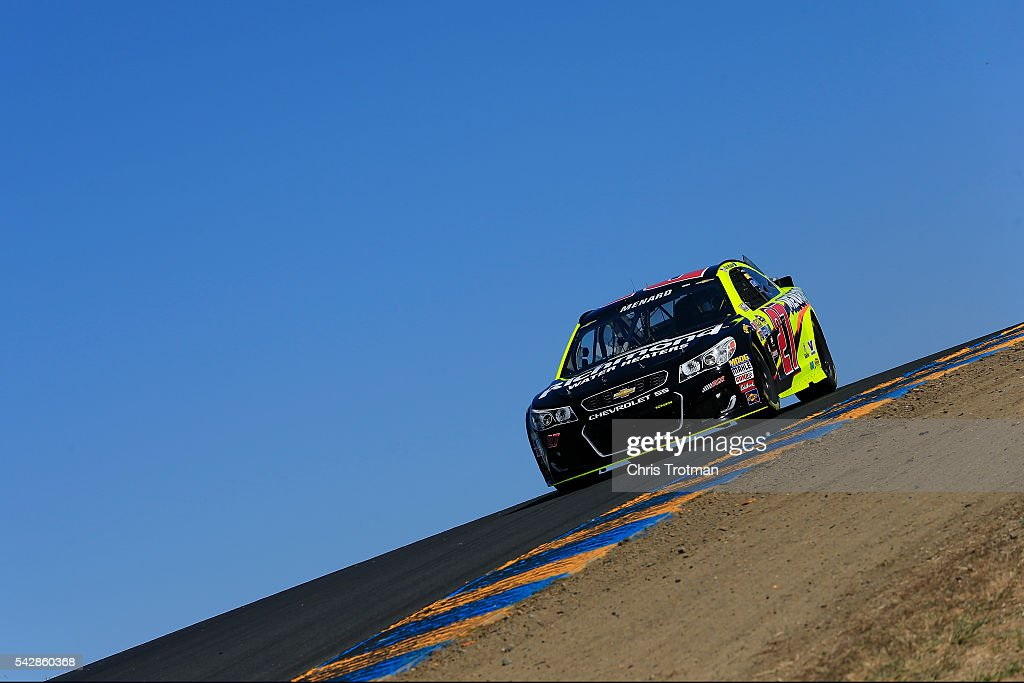 Paul Menard, driver of the #27 Richmond/Menards Chevrolet, practices for the NASCAR Sprint Cup Series Toyota/Save Mart 350 at Sonoma Raceway on June 24, 2016 in Sonoma, California.