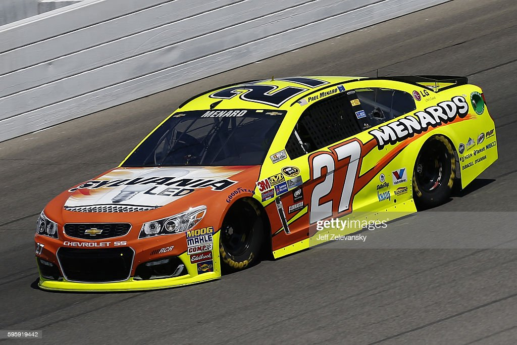 Paul Menard driver of the SYLVANIA/Menards Chevrolet drives during practice for the NASCAR Sprint Cup Series Pure Michigan 400 at Michigan...