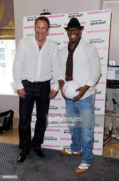 Paul Merson and Ian Wright attend a photocall to launch Lastminutecom's World Cup offers at The May Fair Hotel on May 19 2010 in London England