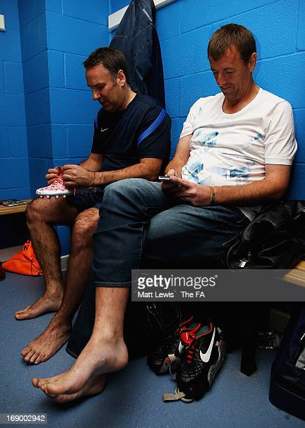 Paul Merson and Matt Le Tissier of the FA Legends talk before the Army FA and FA Legends Match at Madejski Stadium on May 18 2013 in Reading England