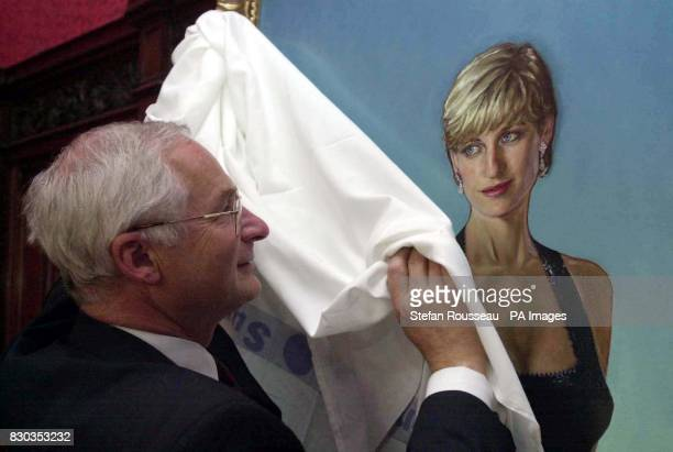 Paul Meyer of the National Hospital Development Foundation unveils the new portrait of the late Diana Princess Of Wales at the National Hospital for...