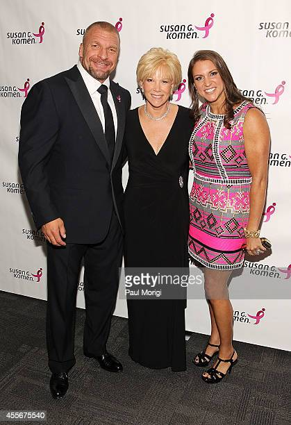 Paul Michael Levesque Journalist Joan Lunden and Stephanie McMahon Chief Brand Officer WWE attend the 2014 Susan G Komen Honoring The Promise Gala at...