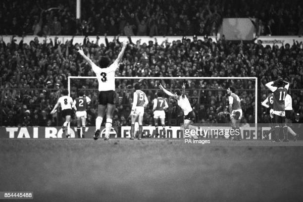 Paul Miller Mark Falco and Graham Roberts celebrate after a goal by Garth Crooks The Arsenal players are Stewart Robson David O'Leary John Hollins...