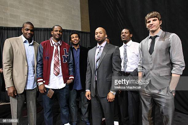Paul Millsap CJ Miles Ronnie Price Sundiata Gaines Othyus Jeffers and Kyle Korver of the Utah Jazz pose for a photo during the Leapin' Leaners and...