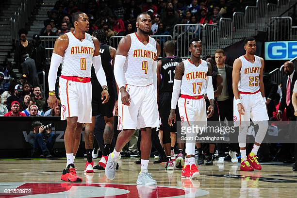 Paul Millsap Dwight Howard Dennis Schroder and Thabo Sefolosha of the Atlanta Hawks are seen during the game against the LA Clippers on January 23...