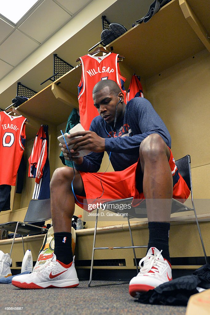 Paul Millsap #4 of the Atlanta Hawks before Game Seven of the Eastern Conference Quarterfinals against the Indiana Pacers during the 2014 NBA Playoffs on May 3, 2014 at Bankers Life Fieldhouse in Indianapolis, Indiana.
