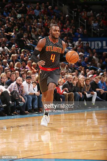 Paul Millsap of the Atlanta Hawks brings the ball up court against the Oklahoma City Thunder during the game on December 19 2016 at Chesapeake Energy...